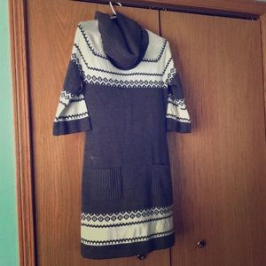 Grey and White Sweater Dress